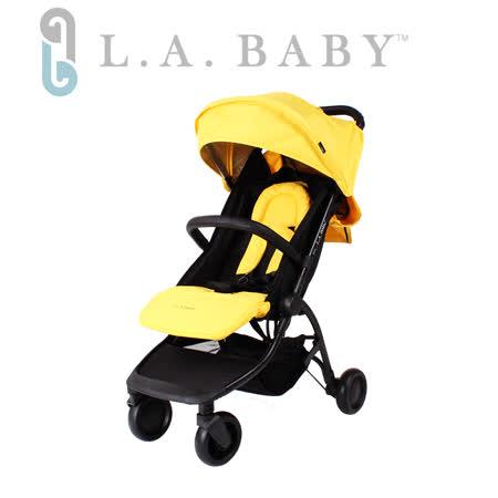 【美國 L.A. Baby】旅行摺疊嬰兒手推車-黃色