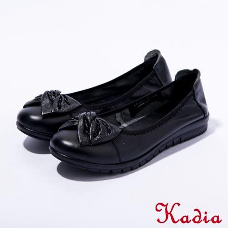 Kadia.舒適通勤 真皮蝴蝶結包鞋(黑色)