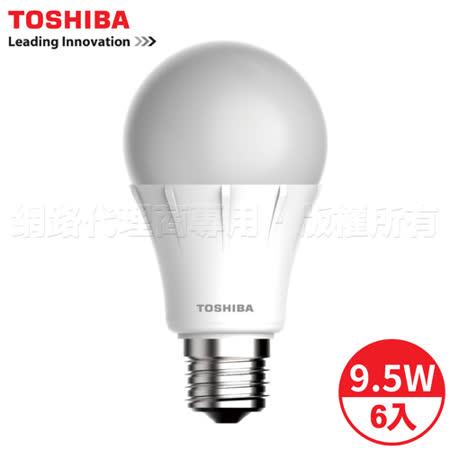 TOSHIBA東芝 9.5W全電壓 LED球泡燈 白/黃光 6入