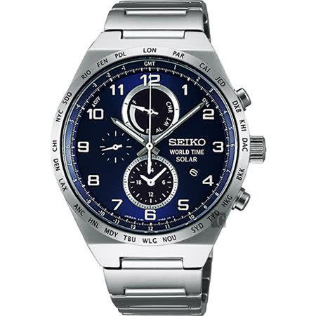 【SEIKO 精工】SPIRIT 尖峰時刻太陽能兩地時間計時腕錶(41mm V195-0AE0B)