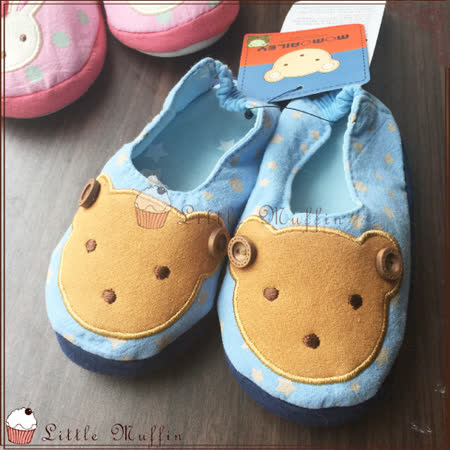 韓國 WINGHOUSE 軟底幼稚園地板鞋 膠底好穿防滑 藍色小熊款 原裝進口