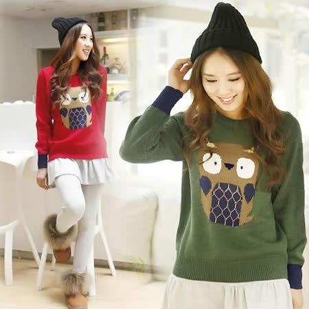 《韓國K.W.》(在台現貨)貓頭鷹圖案針織毛衣上衣