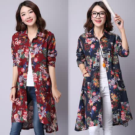【韓國K.W.】(在台現貨)文藝風寬鬆長袖印花長版襯衫