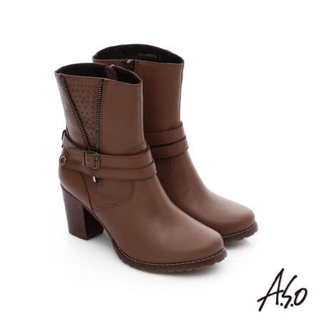 A.S.O 保暖靴 鉚釘拉鍊釦飾粗跟短靴(咖啡)