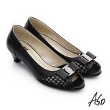A.S.O 減壓美型 珠光真皮鑽飾織網布低跟魚口鞋(黑)