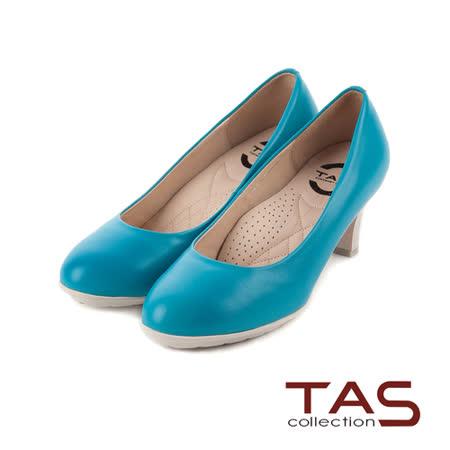 TAS 太妃Q系列 柔軟乳膠素面U口軟牛皮粗跟鞋-晴空藍