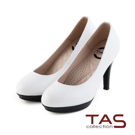 TAS 太妃Q系列 柔軟乳膠素面質感羊皮高跟鞋-優雅白