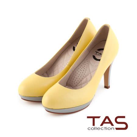 TAS 太妃Q系列 柔軟乳膠素面質感羊皮高跟鞋-淺黃