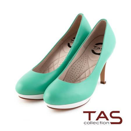 TAS 太妃Q系列 柔軟乳膠素面質感羊皮高跟鞋-馬卡龍綠