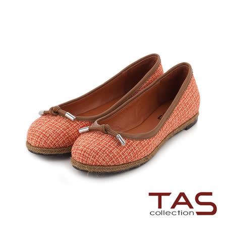 TAS 雙色混織布紋滾邊設計蝴蝶結娃娃鞋-復古橘