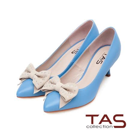 TAS 配色水鑽蝴蝶結尖頭高跟鞋-天空藍
