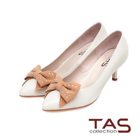 TAS 配色水鑽蝴蝶結尖頭高跟鞋-典雅米