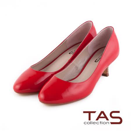 TAS 光澤感鏡面牛皮高跟鞋-復古紅