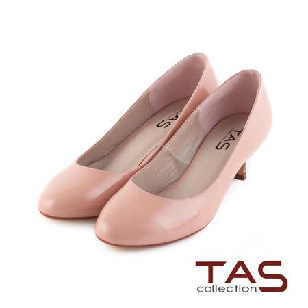 TAS 光澤感鏡面牛皮高跟鞋-裸膚粉
