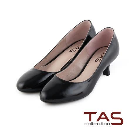 TAS 光澤感鏡面牛皮高跟鞋-經典黑