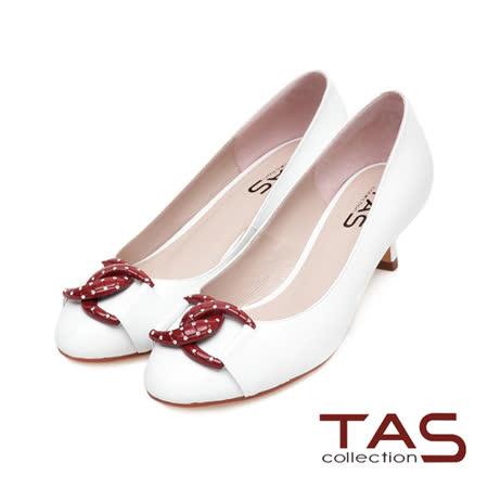 TAS普普風水鑽撞色雙環扣高跟鞋-時尚白