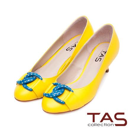 TAS 普普風水鑽撞色雙環扣高跟鞋-亮麗黃