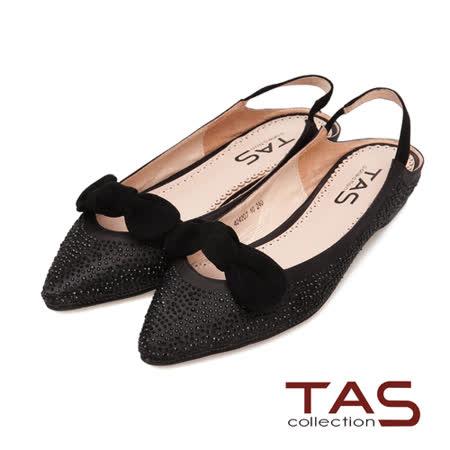 TAS 滿版水鑽麂皮蝴蝶結後跟繫帶娃娃鞋-暗夜黑