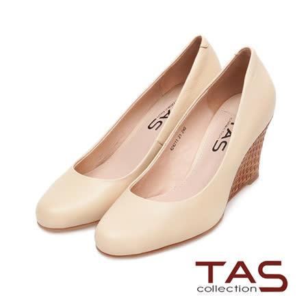 TAS 簡約素面真牛皮楔型娃娃鞋-淺卡其