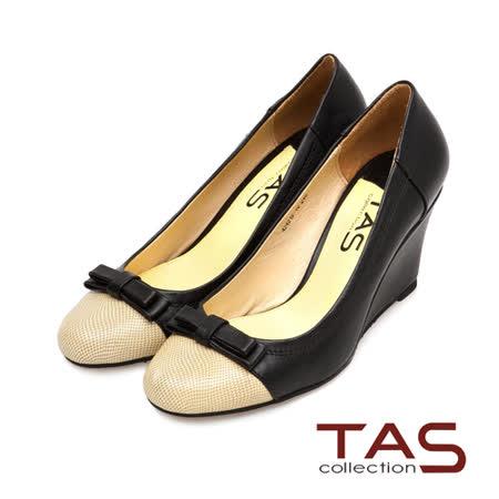 TAS 撞色拼接層次蝴蝶結楔型娃娃鞋-實搭黑