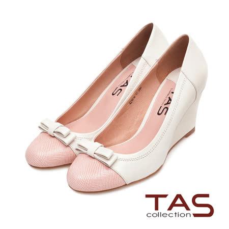 TAS 撞色拼接層次蝴蝶結楔型娃娃鞋-輕感米