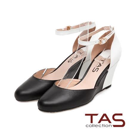 TAS 後跟撞色拼接踝繫帶楔型鞋-簡約黑