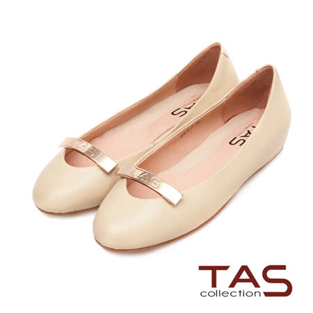 TAS 金屬長方LOGO素面內增高娃娃鞋-淺卡其