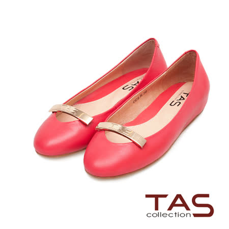 TAS 金屬長方LOGO素面內增高娃娃鞋-蜜橘紅