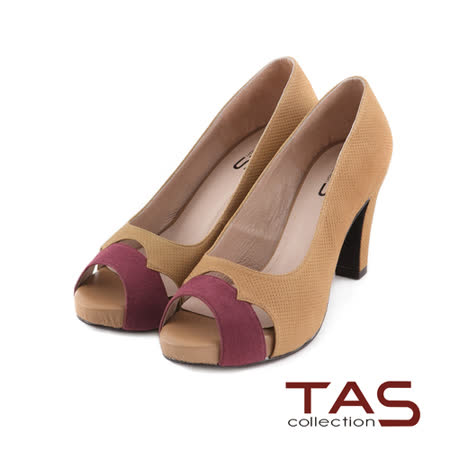 TAS麂皮拼接鏤空配色細孔牛皮魚口高跟鞋-可可棕