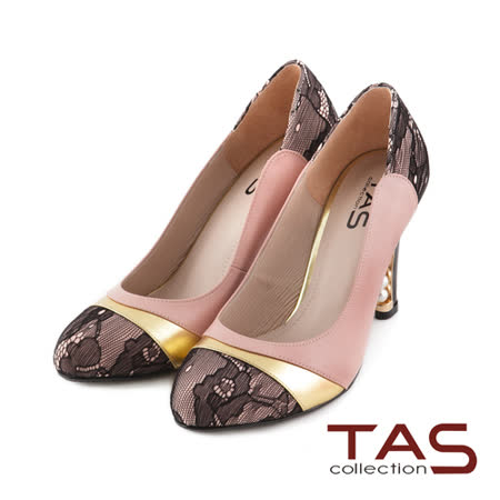 TAS蕾絲拼接金屬風珍珠後跟高跟鞋-浪漫粉