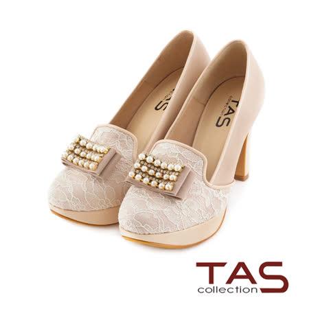 TAS華麗珍珠蝴蝶結蕾絲拼接高跟鞋-淺卡其