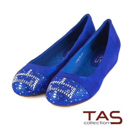 TAS 方型幾何圖騰水鑽內增高娃娃鞋-靚寶藍