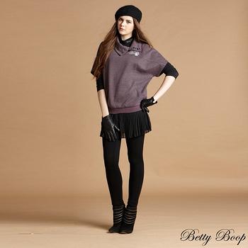 【Betty Boop貝蒂】假兩件拉鍊滾邊百折雪紡褲裙(黑色)