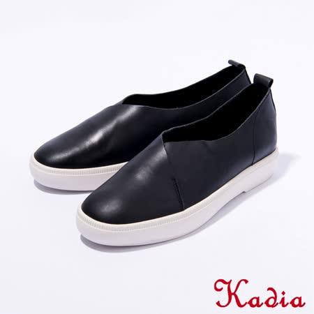Kadia.懶人鞋-牛皮素面休閒鞋(黑色)