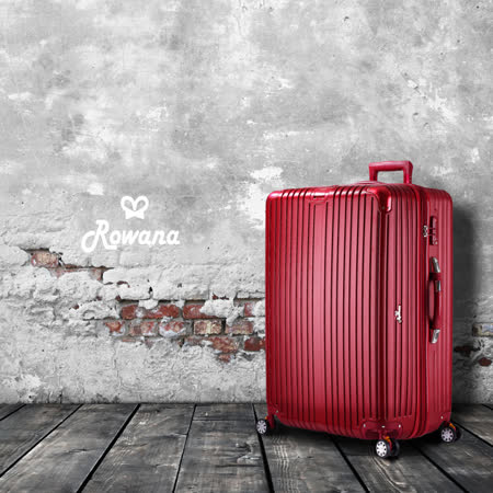 Rowana 極致經典數位秤重彈簧輪拉鍊行李箱 28吋(尊爵紅)