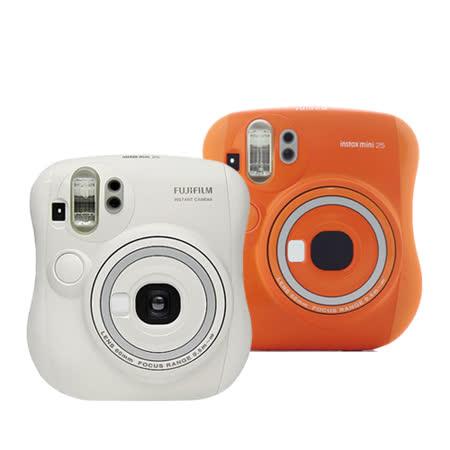 FUJIFILM Instax mini 25 拍立得相機(公司貨)-加送空白底片X1+專用相片本+CR2電池座充組+專用水晶殼