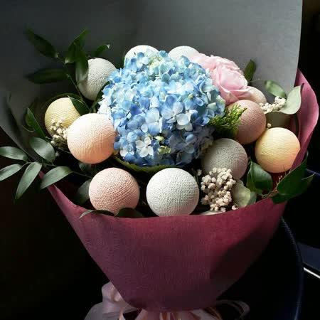 韓國LED棉球燈x進口鮮花束-浪漫泡泡