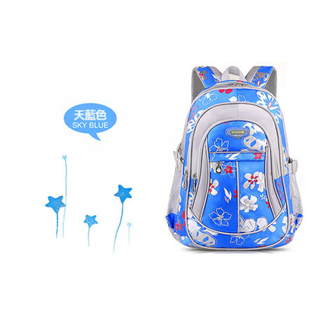 【17mall】韓版時尚花卉多層輕量減壓雙肩後背書包-藍