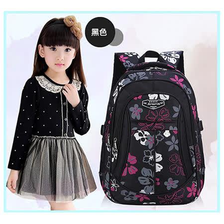 【17mall】韓版時尚花卉多層輕量減壓雙肩後背書包-黑