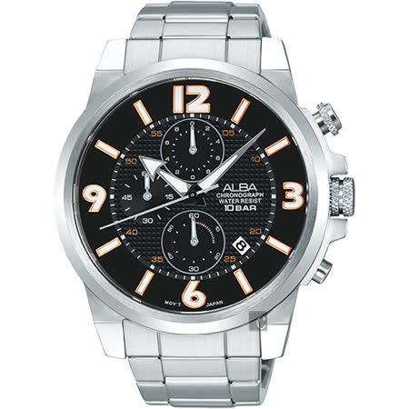 ALBA ACTIVE 限定型男三眼計時腕錶-黑/45mm VD57-X084D(AM3365X1)