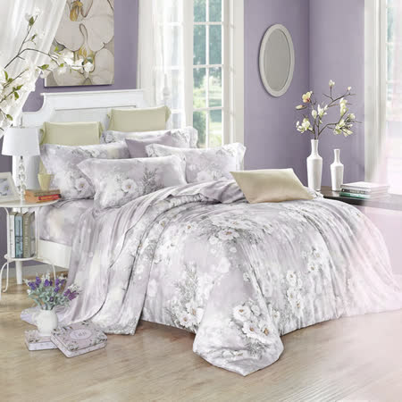 Lily Royal 天絲 特大六件式兩用被床罩組 白色戀人(灰)