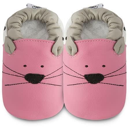 英國 shooshoos 健康無毒真皮手工鞋/學步鞋/嬰兒鞋_ 粉貓咪的臉_ 102790(公司貨)