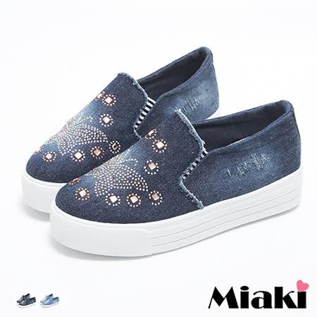 【Miaki】休閒鞋韓蝴蝶水鑽厚底懶人包鞋 (深藍色 / 淺藍色)