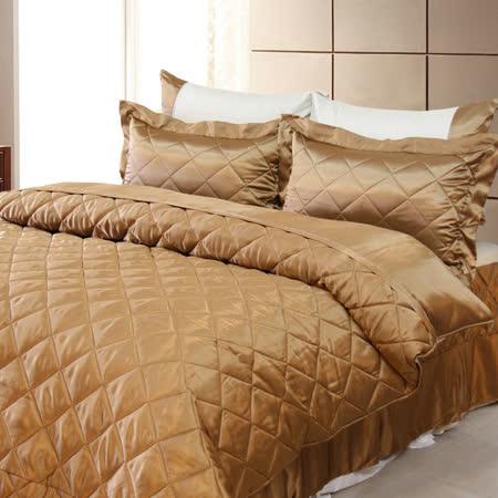 LAMINA 雙色亮面精梳棉六件式床罩組-可可咖(加大)
