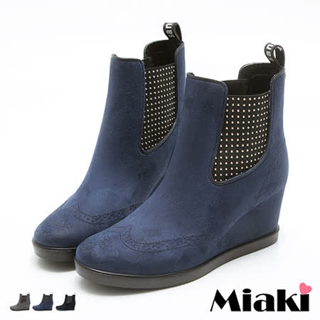 【Miaki】踝短靴韓帥氣金屬鉚釘楔型包鞋 (灰色 / 藍色 / 黑色)