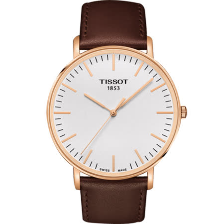 TISSOT 天梭 Everytime 經典雋永腕錶-銀x玫塊金框/42mm T1096103603100