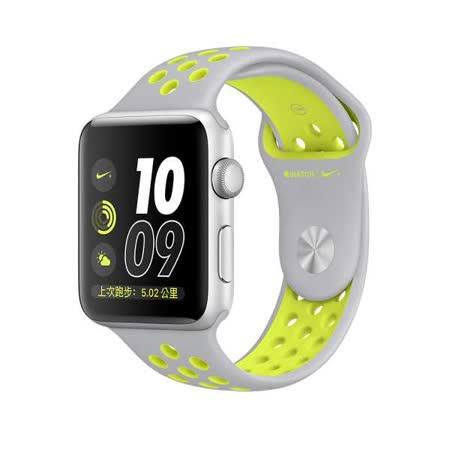 Apple Watch Series 2 智慧型手錶 (42mm) /A 42公釐 銀色鋁金屬錶殼搭霧銀色配螢光黃色 Nike 運動型錶帶 (MNYQ2 TA/A)
