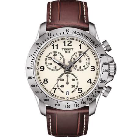 TISSOT 天梭 V8系列三眼計時腕錶-黃x咖啡色錶帶/42.5mm T1064171626200