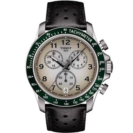 TISSOT 天梭 V8系列三眼計時腕錶-灰x綠框/42.5mm T1064171603200