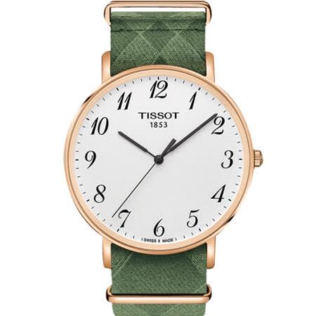 TISSOT 天梭 Everytime 經典雋永腕錶-銀x玫塊金框x綠色錶帶/42mm T1096103803200